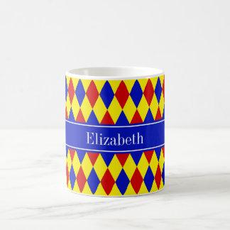 Red Blue Yellow Harlequin Royal Ribbon Monogram Classic White Coffee Mug