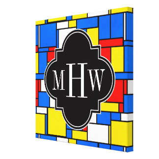 Red Blue Yellow Mondrian Blk Quatrefoil 3 Monogram Canvas Print