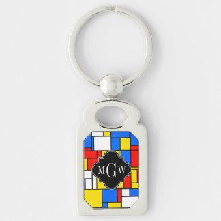 Red Blue Yellow Mondrian Blk Quatrefoil 3 Monogram Keychain
