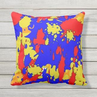 Red Blue Yellow Paint Splatters Outdoor Pillow