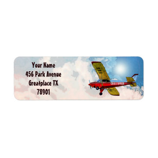 Red Blue Yellow Personal Aircraft With Your Name Label