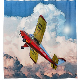 Red Blue Yellow Personal Aircraft With Your Name Shower Curtain