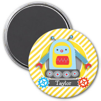 Red, Blue, & Yellow Robot; White Stripes 3 Inch Round Magnet