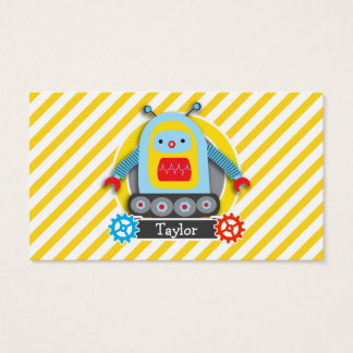 Red, Blue, & Yellow Robot; White Stripes Business Card
