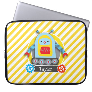 Red, Blue, & Yellow Robot; White Stripes Laptop Sleeve