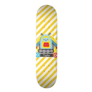 Red, Blue, & Yellow Robot; White Stripes Skateboards