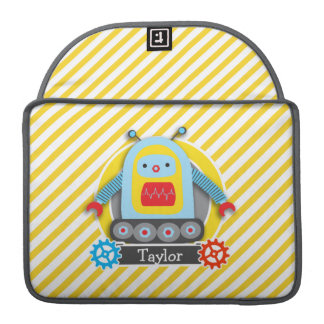 Red, Blue, & Yellow Robot; White Stripes Sleeves For MacBook Pro