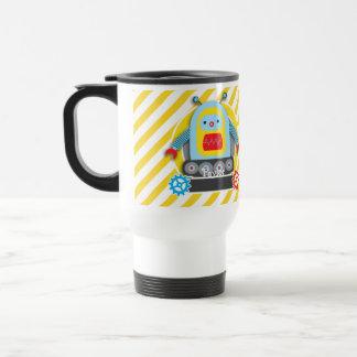 Red, Blue, & Yellow Robot; White Stripes Travel Mug