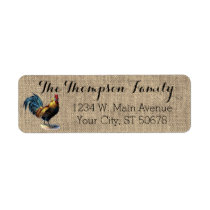 Red Blue Yellow Rooster On Faux Jute Burlap Label