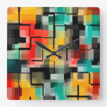Red Blue Yellow Square Wall Clock
