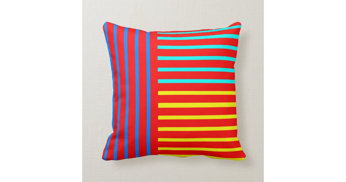 Yellow Striped Throw Pillows : Red Blue Yellow Stripe Throw Pillow Zazzle