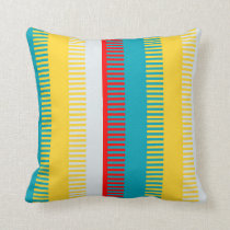 Red Blue Yellow White Gray Chic Unique Pattern Throw Pillow