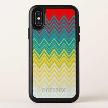 Red Blue Yellow Zigzag Pattern OtterBox Symmetry iPhone XS Case