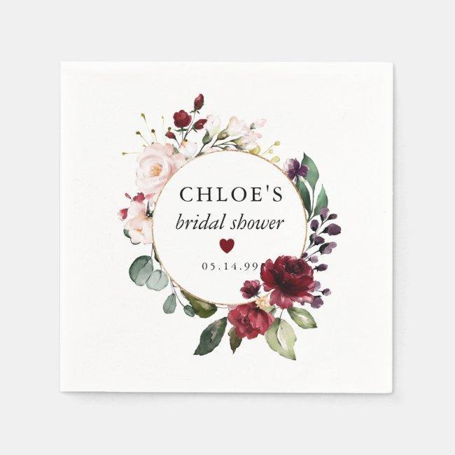 Red Blush Pink Rose Floral Bridal Shower Napkins