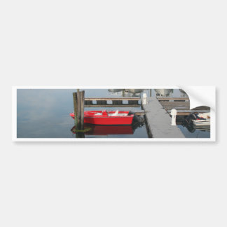 Red boat at Gloucester Bumper Sticker
