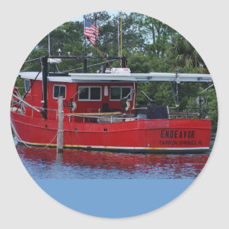 Red Boat Classic Round Sticker