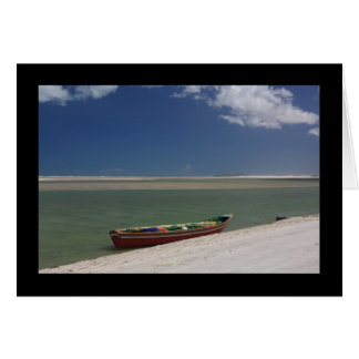Red Boat on Beach Card