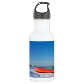 Red boat on shore of the Baltic sea in winter Stainless Steel Water Bottle