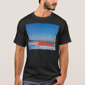 Red boat on shore of the Baltic sea in winter T-Shirt