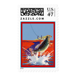 RED BOAT w/ FISH CAUGHT SPORT FISHING Stamps! Postage