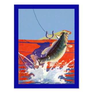 RED BOAT w/ FISH ON ~ RETIREMENT PARTY INVITATION! 4.25x5.5 Paper Invitation Card