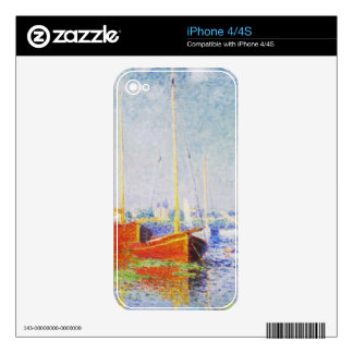 Red Boats at Argenteuil by Claude Monet iPhone 4 Skin