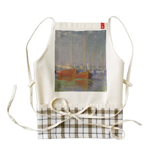 Red Boats at Argenteuil by Claude Monet Zazzle HEART Apron