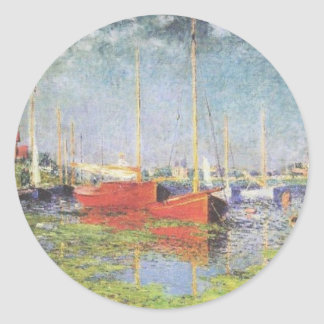 Red Boats at Argenteuil Classic Round Sticker