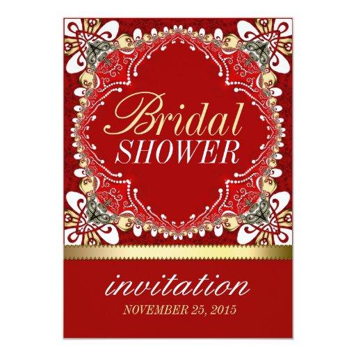 Red Bohemian Batik Bridal Shower Party Invitations