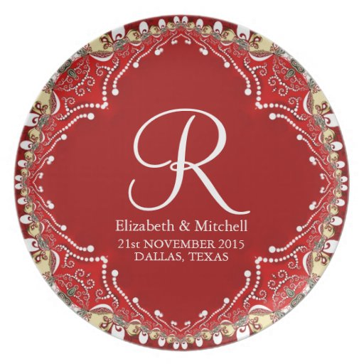 Red Bohemian Batik Monogram Wedding Gift Plate