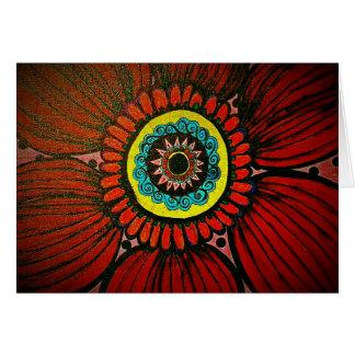 Red Bohiemien Flower polka dots notecard Greeting Card