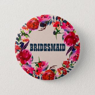 Red Boho Floral Bridesmaid Wedding Button