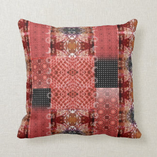 Red Boho Patchwork Mandala Tribal Sun Moon Throw Pillow