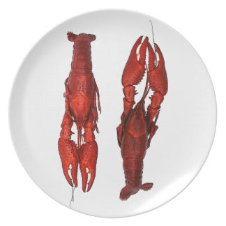 red boiled crawfish melamine plate