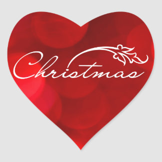 Red Bokeh Christmas Heart Sticker