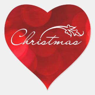 Red Bokeh Christmas Heart Sticker