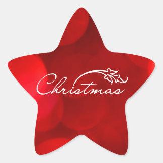 Red Bokeh Christmas Star Sticker