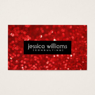 Red Bokeh Glitter & Sparkles Black Accents Business Card