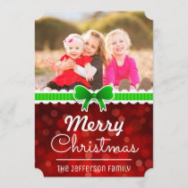 Red Bokeh Green Ribbon Christmas Custom Photo Card