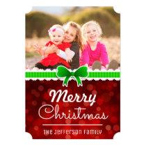 Red Bokeh Green Ribbon Christmas Custom Photo Card