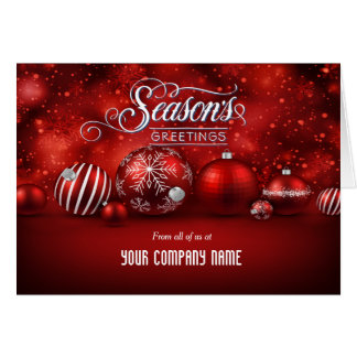 Red Bokeh Sparkle Elegance Corporate Folded Greeting Card
