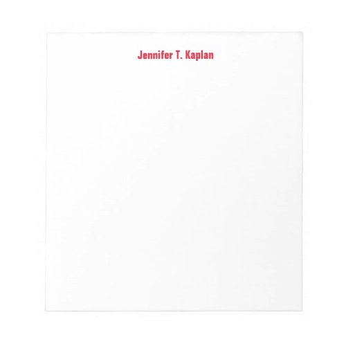 Red Bold Name Plain Simple Professional Modern Notepad