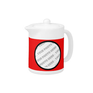 Red Bold Personalized Photo Teapot