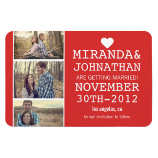 Red Bold Photo Strip Save The Date Magnet