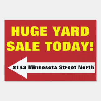 Red Bold Yard Rummage Tag Estate Garage Sale Sign