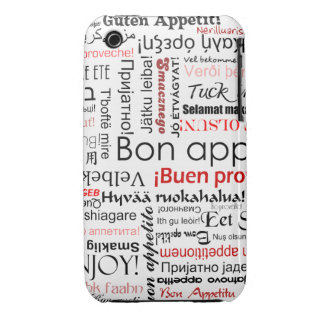 Red Bon appetit in many different languages iPhone 3 Cover