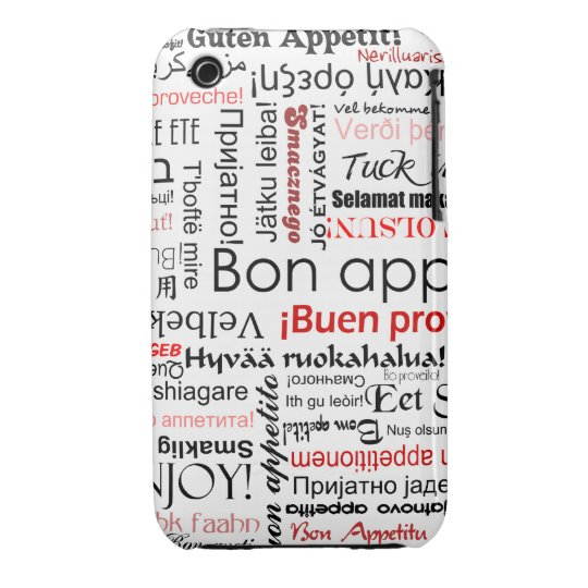 Red Bon appetit in many different languages iPhone 3 Case-Mate Case