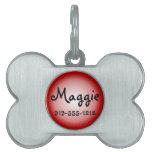Red Bone Shaped Customizable Name Dog Tag Pet Tag