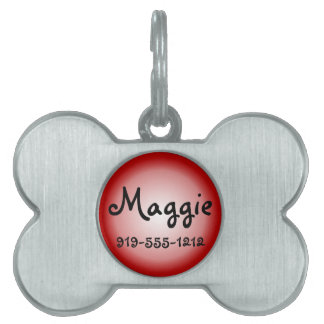 Red Bone Shaped Customizable Name Dog Tag Pet Tags