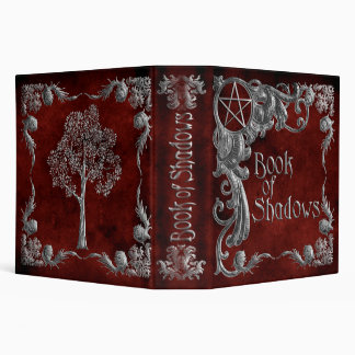 """Red """"Book Of Shadows"""" w/ Silver Highlights #1-L 3 Ring Binder"""